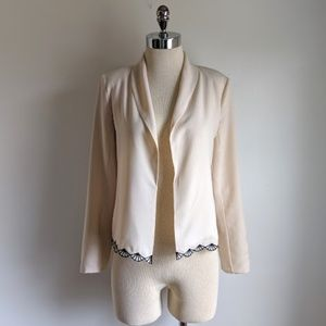 Need Supply Co Ivory Crepe Blazer w/Scallop Detail